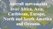 Flightmovements airplanes Europe, Azie, America, Australie, etc.with Flightradar 24, Radarbox24 and others